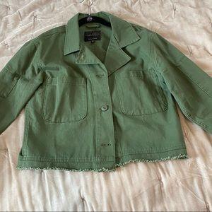 Sanctuary frayed hem crop olive military jacket